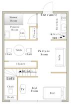 上海 中山公園近くのサービスアパートメント間取り図1